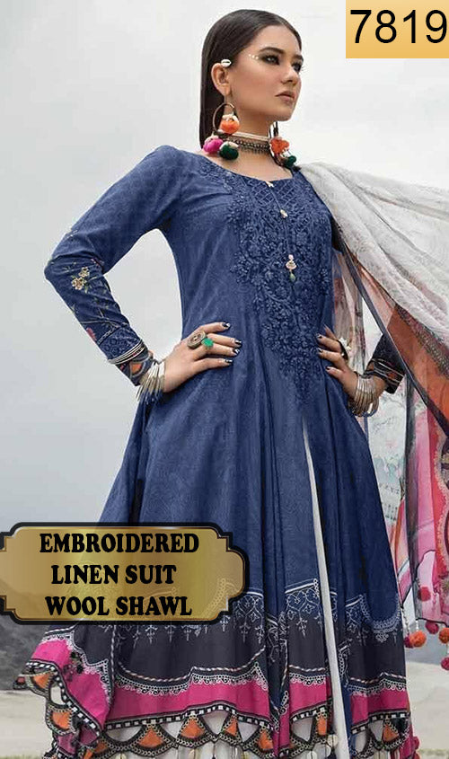 WYFD-7819 - NECK EMBROIDERED DESIGNER 3PC LINEN SUIT WITH WOOL SHAWL - WINTER COLLECTION 2019 / 2020