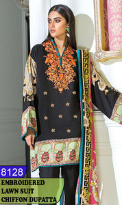 WYFD-8128 - FRONT EMBROIDERED DESIGNER 3PC LAWN SUIT WITH CHIFFON DUPATTA - SUMMER COLLECTION 2020 / 2021