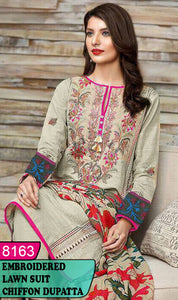 WYFD-8163 - NECK EMBROIDERED DESIGNER 3PC LAWN SUIT WITH CHIFFON DUPATTA - SUMMER COLLECTION 2020 / 2021