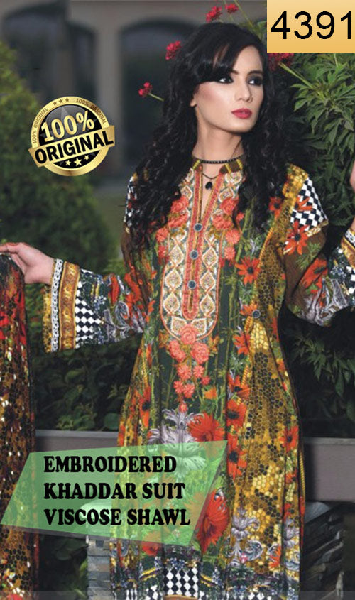 WYFN-4391 - NECK EMBROIDERED Designer 3PC ORIGINAL KHADDAR Suit With VISCOSE SHAWL DUPATTA - WINTER COLLECTION 2018 / 2019