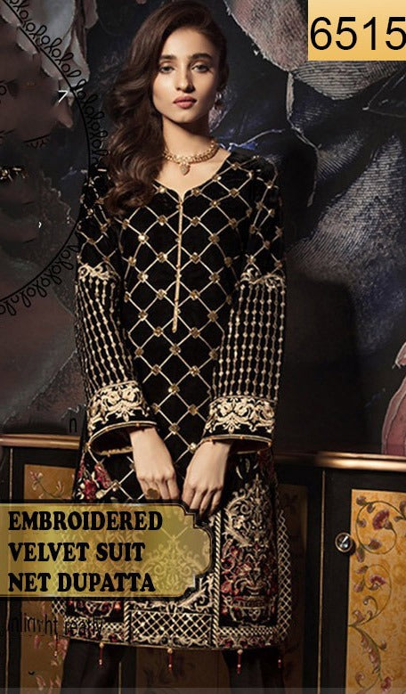 WYFY-6515 - FULL EMBROIDERED DESIGNER 3PC VELVET SUIT WITH NET DUPATTA - WINTER COLLECTION 2020/2021