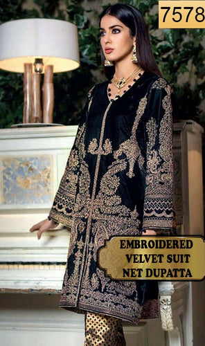 WYFY-7578 - FULL EMBROIDERED DESIGNER 3PC VELVET SUIT WITH NET DUPATTA - WINTER COLLECTION 2020/2021