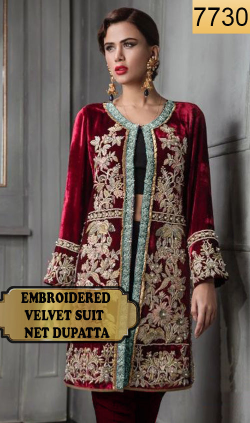 WYFY-7730 - FULL EMBROIDERED DESIGNER 3PC VELVET SUIT WITH NET DUPATTA - WINTER COLLECTION 2019/2020