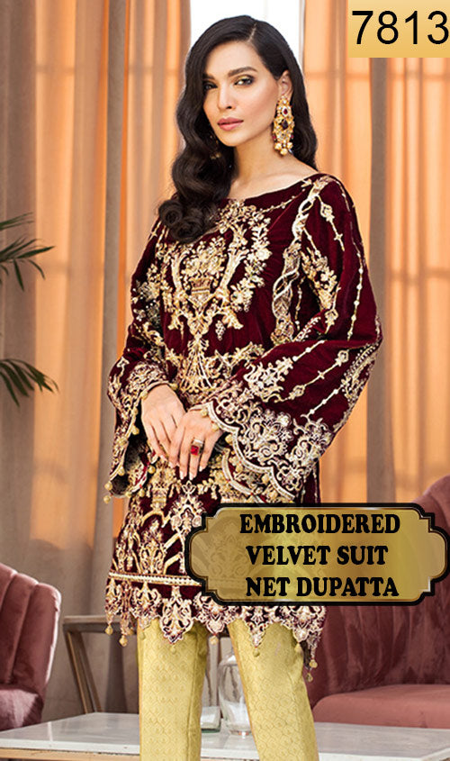 WYFY-7813 - FULL EMBROIDERED DESIGNER 3PC VELVET SUIT WITH NET DUPATTA - WINTER COLLECTION 2019/2020
