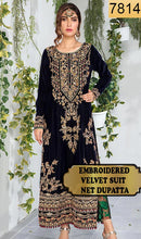 Load image into Gallery viewer, WYFY-7814 - FULL EMBROIDERED DESIGNER 3PC VELVET SUIT WITH NET DUPATTA - WINTER COLLECTION 2019/2020