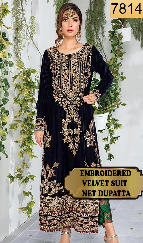 WYFY-7814 - FULL EMBROIDERED DESIGNER 3PC VELVET SUIT WITH NET DUPATTA - WINTER COLLECTION 2019/2020
