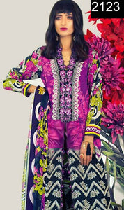 WYHR-2123 - EMBROIDERED Designer 3PC Lawn Suit With CHIFFON Dupatta - SUMMER COLLECTION 2017 / 2018