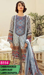 WYHS-8114 - NECK EMBROIDERED DESIGNER 3PC LAWN SUIT WITH LAWN DUPATTA - SUMMER COLLECTION 2020 / 2021
