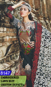 WYHS-8147 - NECK EMBROIDERED DESIGNER 3PC LAWN SUIT WITH CHIFFON DUPATTA - SUMMER COLLECTION 2020 / 2021