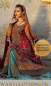 WYJB-1704-EMBROIDERY Designer 3PC CHIFFON SUIT With CHIFFON DUPATTA - PARTY WEAR DRESS