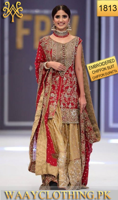 WYJB-1813 - FULL HEAVY EMBROIDERED Designer 3PC CHIFFON Suit With CHIFFON Dupatta - PARTY WEAR DRESS
