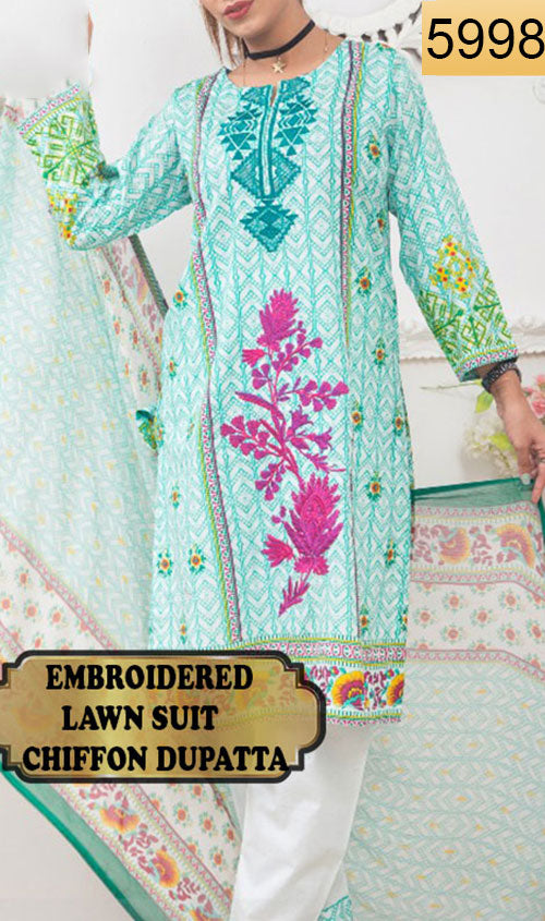 WYJB-5998 - FRONT EMBROIDERED DESIGNER 3PC LAWN SUIT WITH CHIFFON DUPATTA - SUMMER COLLECTION 2018 / 2019