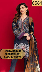 WYJB-6581 - FRONT EMBROIDERED DESIGNER 3PC COTTON SUIT WITH LAWN DUPATTA - WINTER COLLECTION 2019 / 2020