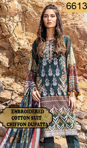 WYJB-6613 - FRONT EMBROIDERED DESIGNER 3PC COTTON SUIT WITH CHIFFON DUPATTA - SUMMER COLLECTION 2019 / 2020
