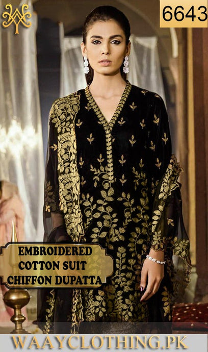 WYJB-6643 - FULL EMBROIDERED DESIGNER 3PC COTTON SUIT WITH CHIFFON DUPATTA - SUMMER COLLECTION 2019 / 2020