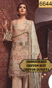 WYJB-6644 - FULL EMBROIDERED DESIGNER 3PC CHIFFON SUIT WITH CHIFFON DUPATTA - PARTY WEAR DRESS 2019 / 2020
