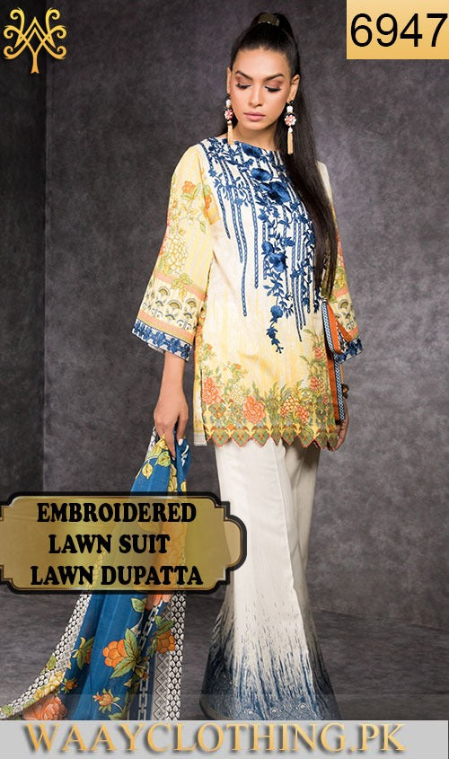 WYJB-6947 - NECK EMBROIDERED DESIGNER 3PC LAWN SUIT WITH LAWN DUPATTA - SUMMER COLLECTION 2019 / 2020