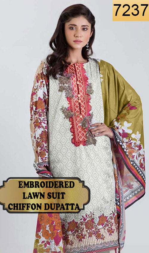 WYJB-7237 - NECK EMBROIDERED DESIGNER 3PC LAWN SUIT WITH CHIFFON DUPATTA - SUMMER COLLECTION 2019 / 2020