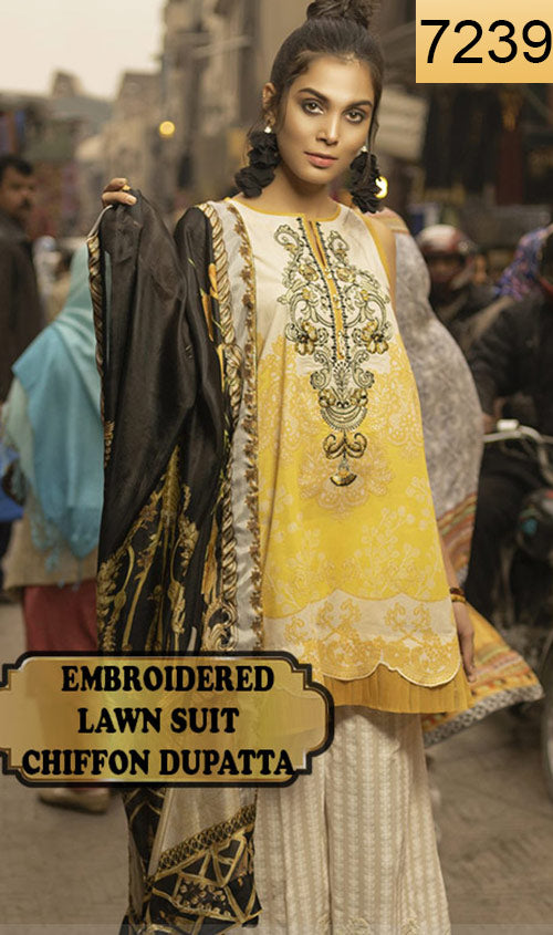 WYJB-7239 - EMBROIDERED DESIGNER 3PC LAWN SUIT WITH CHIFFON DUPATTA - SUMMER COLLECTION 2019 / 2020