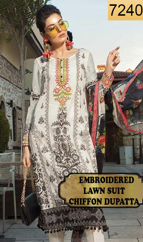 WYJB-7240 - EMBROIDERED DESIGNER 3PC LAWN SUIT WITH CHIFFON DUPATTA - SUMMER COLLECTION 2019 / 2020
