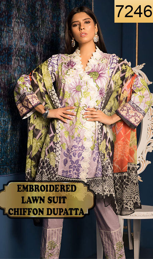 WYJB-7246 - EMBROIDERED DESIGNER 3PC LAWN SUIT WITH CHIFFON DUPATTA - SUMMER COLLECTION 2019 / 2020
