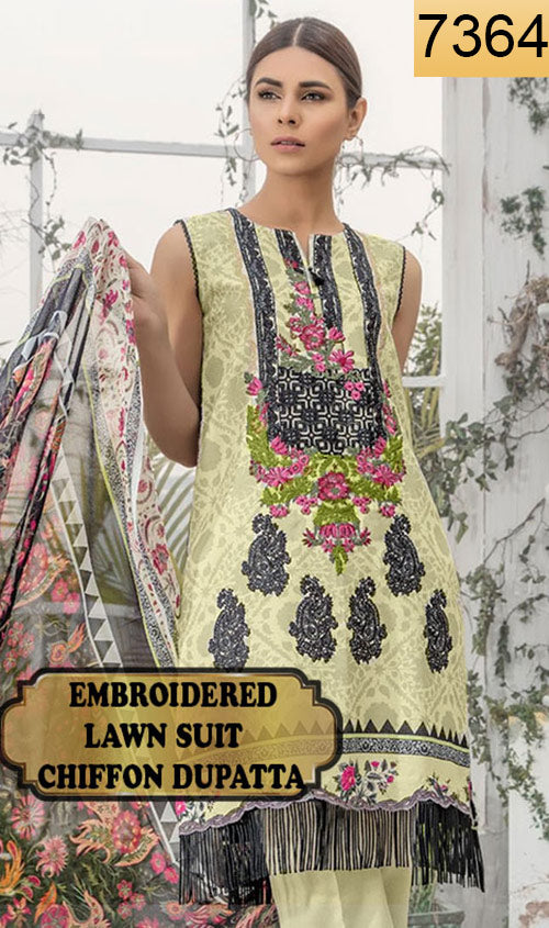 WYJB-7364 - FRONT EMBROIDERED DESIGNER 3PC LAWN SUIT WITH CHIFFON DUPATTA - SUMMER COLLECTION 2019 / 2020