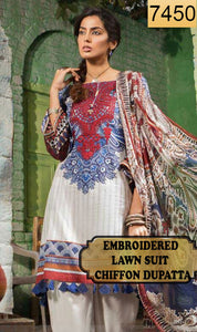 WYJB-7450 - NECK EMBROIDERED DESIGNER 3PC LAWN SUIT WITH CHIFFON DUPATTA - SUMMER COLLECTION 2019 / 2020