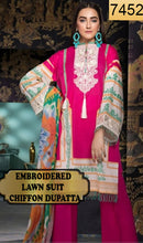 Load image into Gallery viewer, WYJB-7452 - NECK EMBROIDERED DESIGNER 3PC LAWN SUIT WITH CHIFFON DUPATTA - SUMMER COLLECTION 2019 / 2020