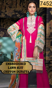 WYJB-7452 - NECK EMBROIDERED DESIGNER 3PC LAWN SUIT WITH CHIFFON DUPATTA - SUMMER COLLECTION 2019 / 2020