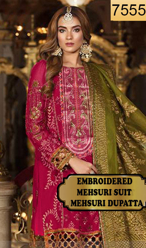 WYJB-7555 - FULL EMBROIDERED DESIGNER 3PC MEHSURI SUIT WITH MEHSURI DUPATTA - PARTY WEAR DRESS 2019 / 2020