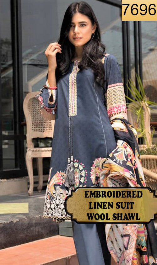 WYJB-7696 - NECK EMBROIDERED DESIGNER 3PC LINEN SUIT WITH WOOL SHAWL - WINTER COLLECTION 2019 / 2020