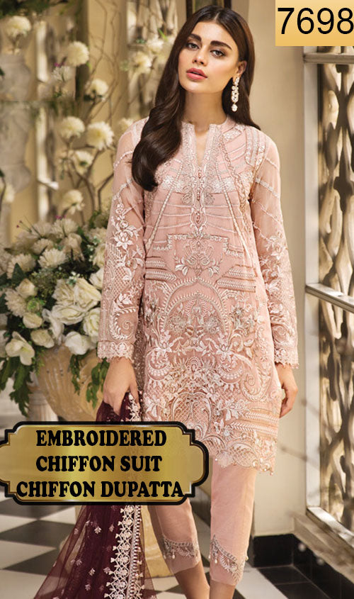 WYJB-7698 - FULL EMBROIDERED DESIGNER 3PC CHIFFON SUIT WITH CHIFFON DUPATTA - PARTY WEAR DRESS 2019 / 2020