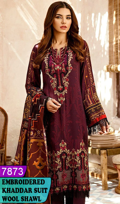 WYJB-7873 - NECK EMBROIDERED DESIGNER 3PC KHADDAR SUIT WITH WOOL SHAWL - WINTER COLLECTION 2019 / 2020