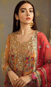 WYJB-7900 - FULL EMBROIDERED DESIGNER 3PC CHIFFON SUIT WITH CHIFFON DUPATTA - PARTY WEAR DRESS 2019 / 2020