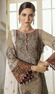 WYJB-7901 - FULL EMBROIDERED DESIGNER 3PC CHIFFON SUIT WITH CHIFFON DUPATTA - PARTY WEAR DRESS 2019 / 2020