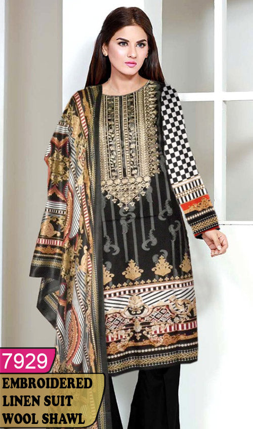 WYJB-7929 - NECK EMBROIDERED DESIGNER 3PC LINEN SUIT WITH WOOL SHAWL - WINTER COLLECTION 2020 / 2021