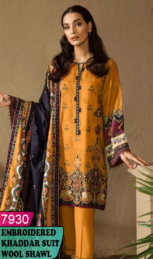 WYJB-7930 - FRONT EMBROIDERED DESIGNER 3PC KHADDAR SUIT WITH WOOL SHAWL - WINTER COLLECTION 2020 / 2021