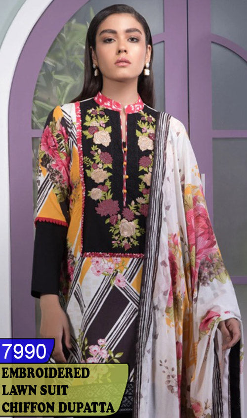 WYJB-7990 - NECK EMBROIDERED DESIGNER 3PC LAWN SUIT WITH CHIFFON DUPATTA - SUMMER COLLECTION 2020 / 2021