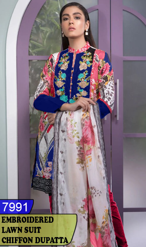 WYJB-7991 - NECK EMBROIDERED DESIGNER 3PC LAWN SUIT WITH CHIFFON DUPATTA - SUMMER COLLECTION 2020 / 2021
