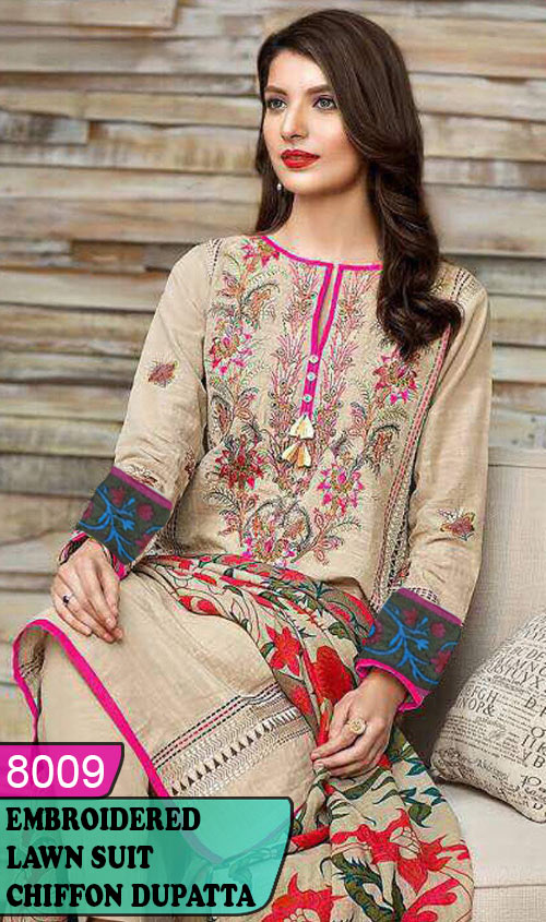 WYJB-8009 - NECK EMBROIDERED DESIGNER 3PC LAWN SUIT WITH CHIFFON DUPATTA - SUMMER COLLECTION 2020 / 2021