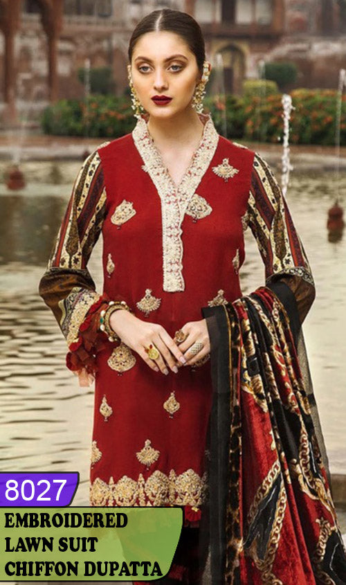 WYJB-8027 - NECK EMBROIDERED DESIGNER 3PC LAWN SUIT WITH CHIFFON DUPATTA - SUMMER COLLECTION 2020 / 2021