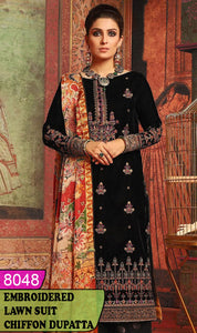 WYJB-8048 - NECK EMBROIDERED DESIGNER 3PC LAWN SUIT WITH CHIFFON DUPATTA - SUMMER COLLECTION 2020 / 2021