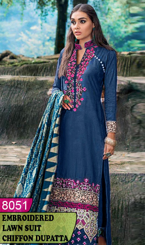 WYJB-8051 - NECK EMBROIDERED DESIGNER 3PC LAWN SUIT WITH CHIFFON DUPATTA - SUMMER COLLECTION 2020 / 2021
