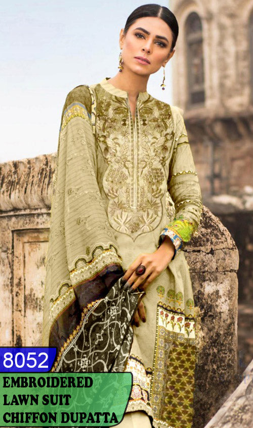 WYJB-8052 - NECK EMBROIDERED DESIGNER 3PC LAWN SUIT WITH CHIFFON DUPATTA - SUMMER COLLECTION 2020 / 2021