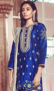 WYJB-8056 - NECK EMBROIDERED DESIGNER 3PC LAWN SUIT WITH CHIFFON DUPATTA - SUMMER COLLECTION 2020 / 2021