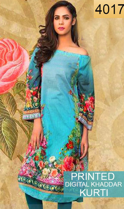 WYKB-4017 - PRINTED DIGITAL KHADDAR KURTI - WINTER COLLECTION 2018/2019