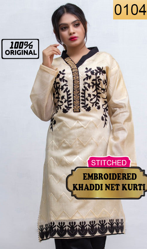 WYKR-0104 - STITCHED HANDWORKED FULL EMBROIDERED READY TO WEAR PRET KHADDI NET KURTI - PARTY WEAR COLLECTION 2019/2020