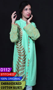 WYKR-0112 - STITCHED FULL EMBROIDERED READY TO WEAR PRET COTTON KURTI - SUMMER COLLECTION 2020/2021