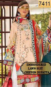 WYKS-7411- FULL EMBROIDERED DESIGNER 3PC LAWN SUIT WITH CHIFFON DUPATTA - SUMMER COLLECTION 2019 / 2020