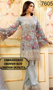 WYMM-7605 - HEAVY HANDWORKED FULL EMBROIDERED DESIGNER 3PC CHIFFON SUIT WITH CHIFFON DUPATTA - PARTY WEAR DRESS 2019 / 2020